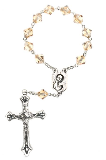 Golden Shadow Swarovski Pocket or Auto Rosary