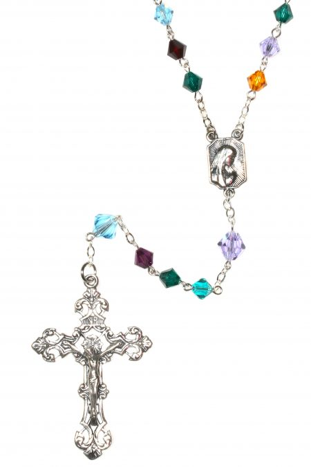 Custom Birthstone Crystal Rosary - Sterling Silver