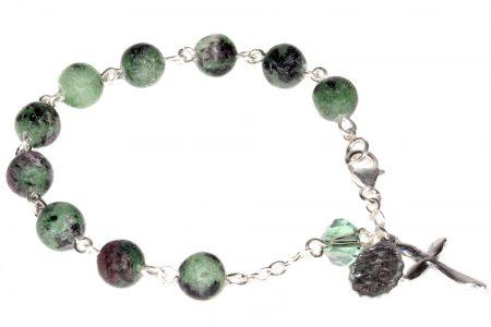 Zoisite Jasper Gemstone Rosary Bracelet