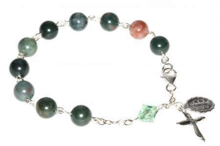 Indian Bloodstone Gemstone Rosary Bracelet