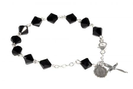 Jet Black Swarovski Crystal Rosary Bracelet