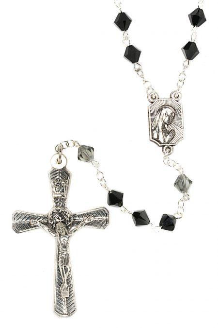 Jet Black Rosary made with Swarovski Crystals