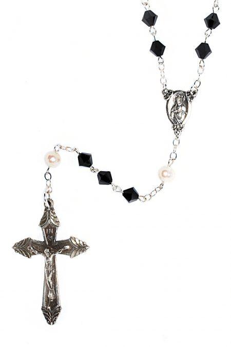Jet Black Swarovski Crystal Sterling Silver Rosary