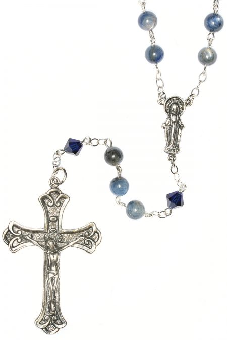 Kyanite Gemstone Sterling Silver Rosary