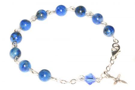 Lapis Gemstone Child Rosary Bracelet