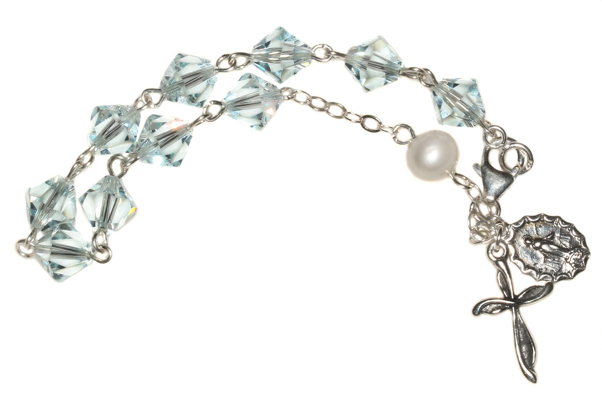 09158d076 Light Azore Swarovski Crystal Rosary Bracelet   Shop Rosaries