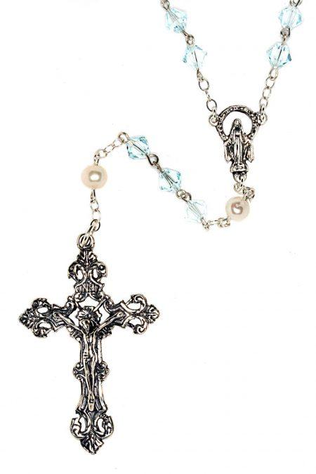 Lt Azore Swarovski Crystal Sterling Silver Rosary
