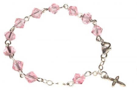 Light Rose Pink Swarovski Crystal Child Rosary Bracelet