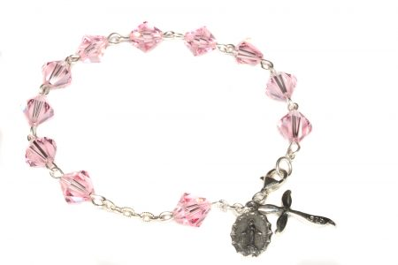Light Rose Swarovski Crystal Rosary Bracelet
