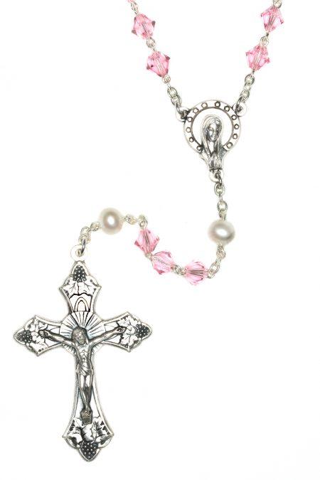 Lt Rose Rosary made with Swarovski Crystals