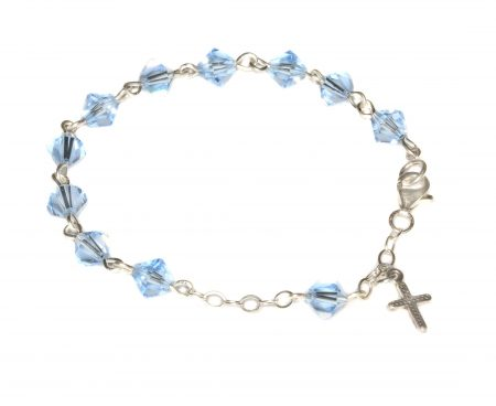 Light Sapphire Swarovski Crystal Child Rosary Bracelet