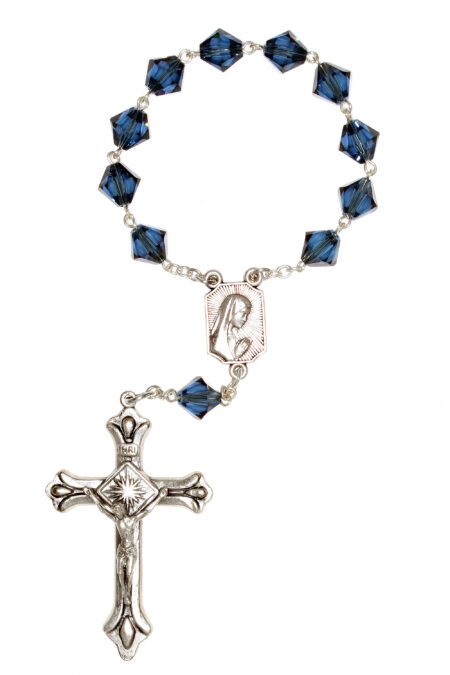 Montana Blue Swarovski Pocket or Auto Rosary