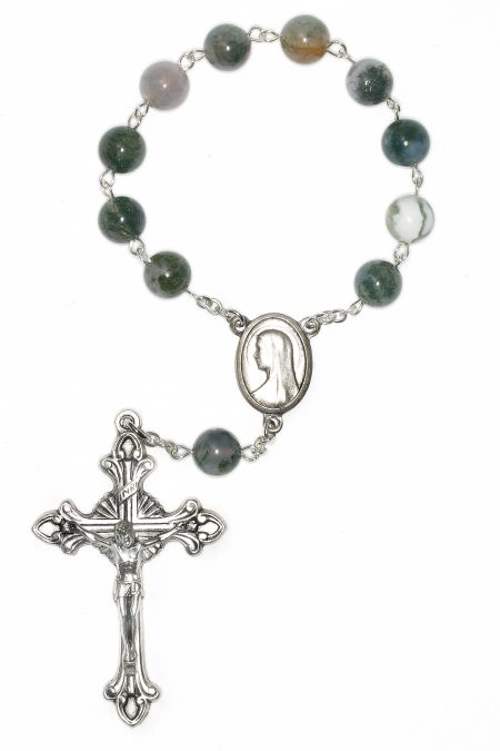 Moss Agate Pocket or Auto Rosary