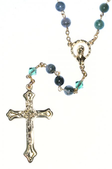 Moss Agate Rosary (gold)