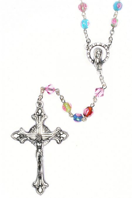 Multi-Colored Glass Floral Rosary