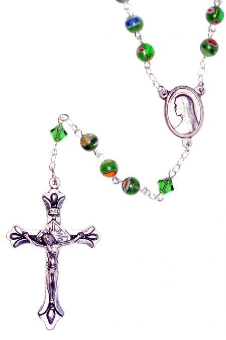 Murano Glass Green Millifiori Rosary
