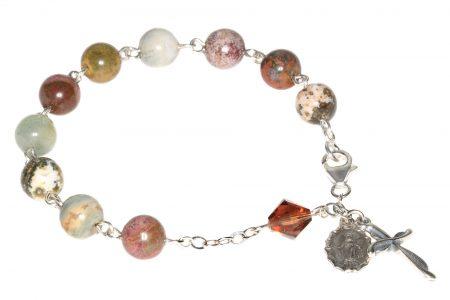 Ocean Jasper Gemstone Rosary Bracelet