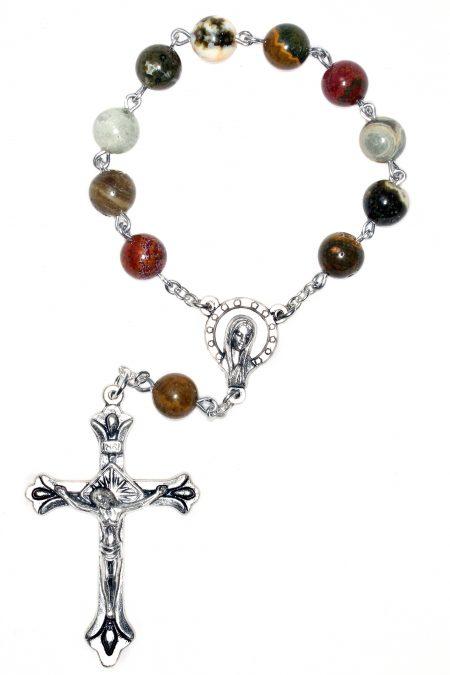 Ocean Jasper Pocket Rosary or Auto Rosary