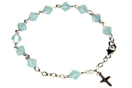 Pacific Opal Central European Crystal Child Rosary Bracelet-October