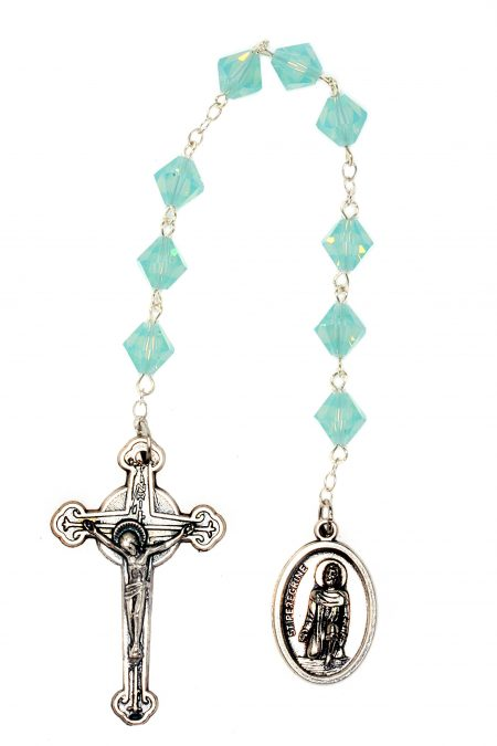 Pacific Opal Swarovski Crystal St. Peregrine Chaplet (October)