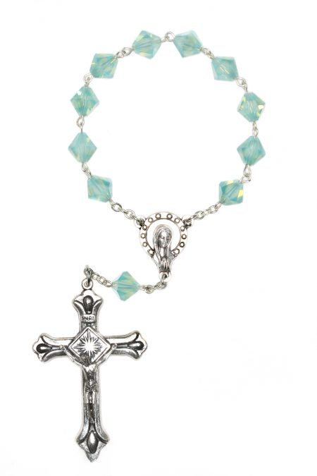 Pacific Opal Swarovski Pocket or Auto Rosary (October)