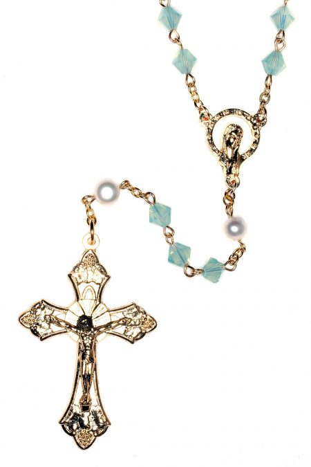 Pacific Opal Rosary made with Swarovski Crystals - Gold (October)