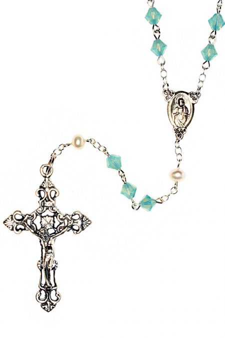 Pacific Opal Swarovski Crystal Sterling Silver Rosary-October