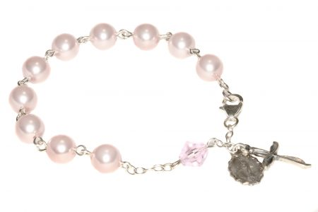 Pearlized Rosaline Swarovski Crystal Rosary Bracelet