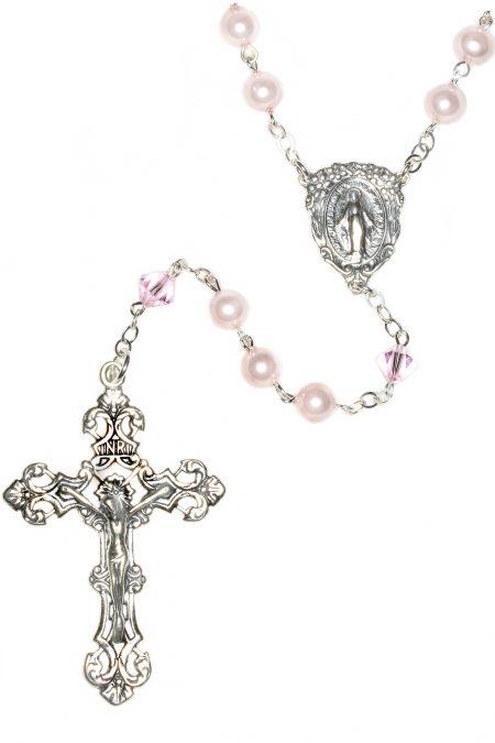 Pearlized Rosaline Swarovski Crystal Sterling Silver Rosary