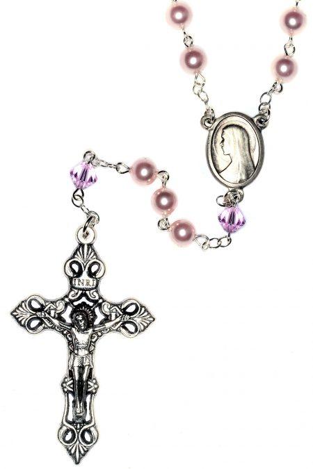 Pearlized Rosaline Swarovski Crystal Rosary
