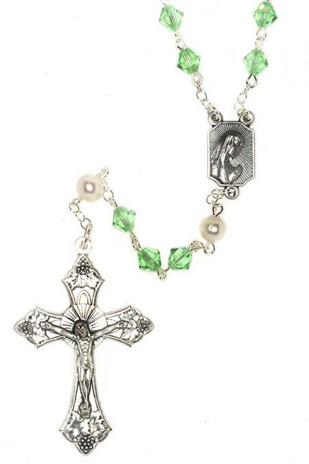 Peridot Rosary made with Swarovski Crystals (August)