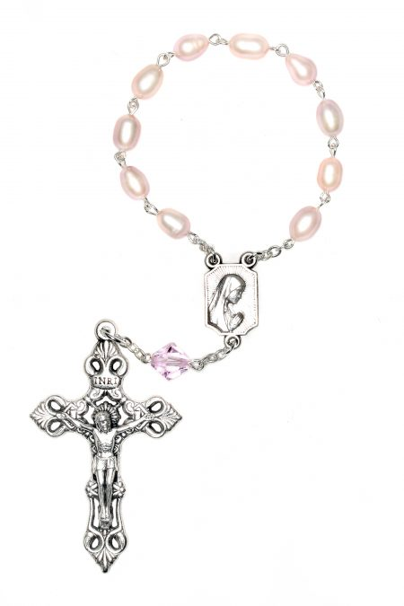 Pink Cultured Freshwater Pearl Pocket or Auto Rosary