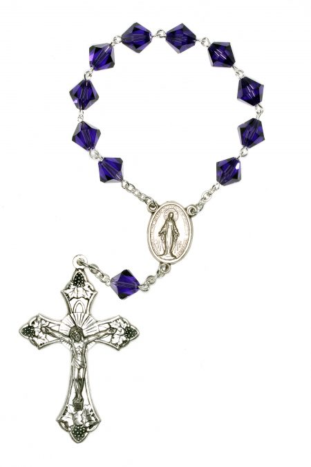 Purple Velvet Swarovski Pocket or Auto Rosary