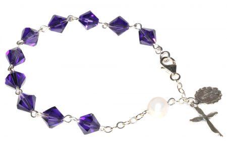 Purple Velvet Swarovski Crystal Rosary Bracelet