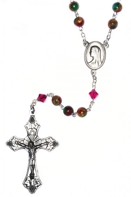 Ruby Sapphire Emerald in Quartz with Pyrite Gemstone Rosary