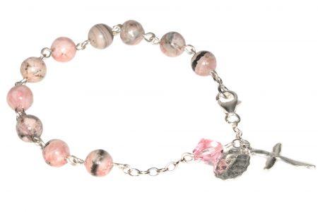 Rhodochrosite Gemstone Rosary Bracelet
