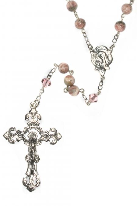 Rhodochrosite Sterling Silver Rosary