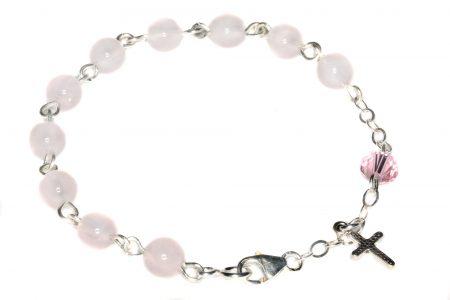Rose Quartz Gemstone Child Rosary Bracelet