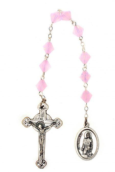 Rose Water Opal Swarovski Crystal St. Peregrine Chaplet-October