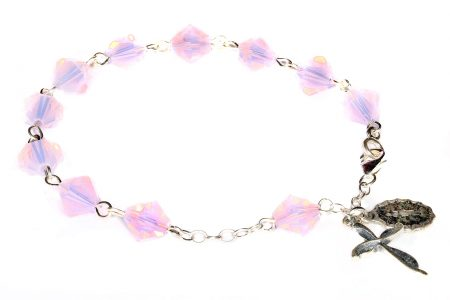 Rose Water Opal Swarovski Crystal Rosary Bracelet (October)