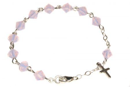 Rose Water Opal Central European Crystal Child Rosary Bracelet-October