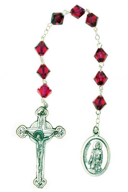 Ruby Swarovski Crystal St. Peregrine Chaplet (July)