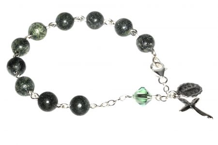 Russian Serpentine Gemstone Rosary Bracelet