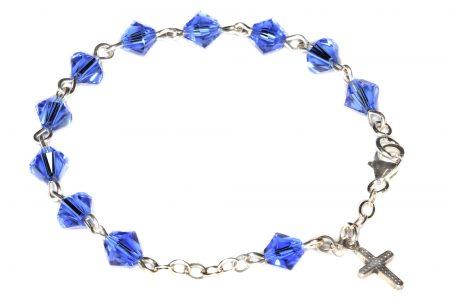 Sapphire Swarovski Crystal Child Rosary Bracelet (September)