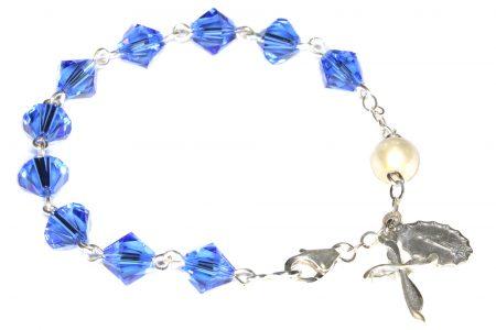 Sapphire Swarovski Crystal Rosary Bracelet (September)