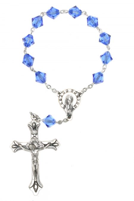 Sapphire Swarovski Pocket or Auto Rosary (September)