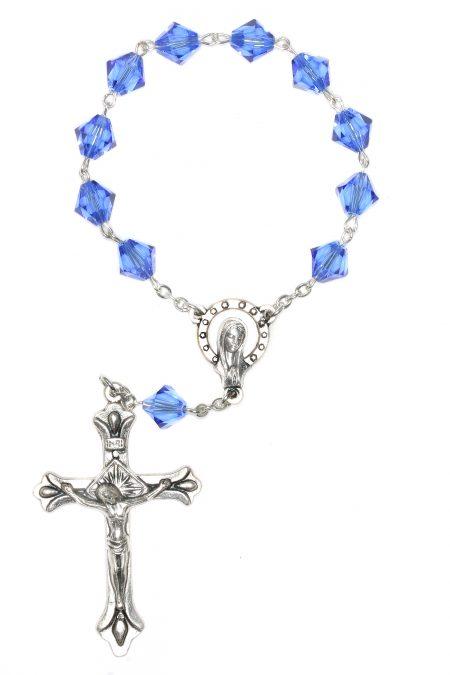 Sapphire Swarovski Pocket or Auto Rosary (September)