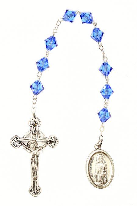 Sapphire Swarovski Crystal St. Peregrine Chaplet (September)