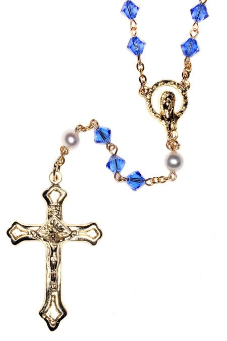 Sapphire Rosary made with Swarovski Crystals  - Gold (September)