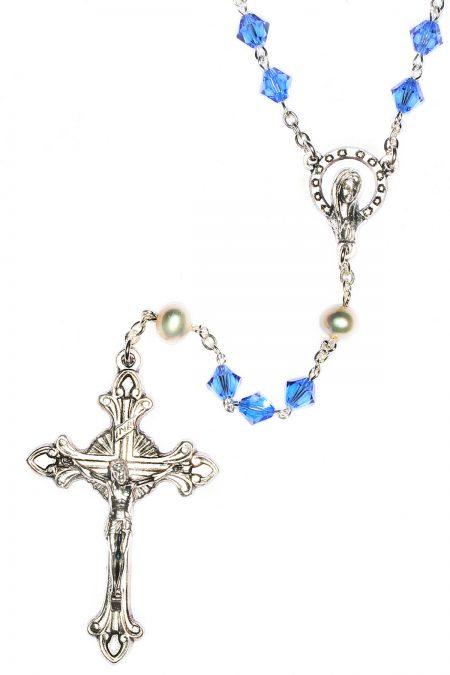 Sapphire Rosary made with Swarovski Crystals (September)
